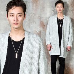 Open front gray knit cardigan