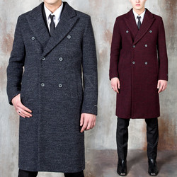 Terry wool double breasted slim long coat