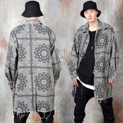 Double washed distressed paisley coat