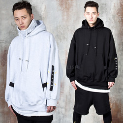 Contrast strap oversized turtleneck hoodie