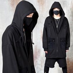 Buckle strap corduroy pocket long zip-up hoodie