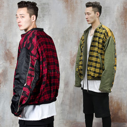 Zippered sleeve contrast checkered jacket