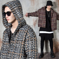 Contrast checkered hooded jacket