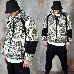 Contrast paisley fleece zip-up jacket