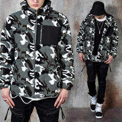 Hooded camouflage fleece zip-up jacket