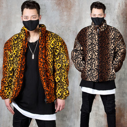 Gradation leopard pattern fur zip-up jacket