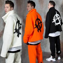 Back logo printed fleece zip-up jacket