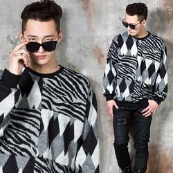 Diamond zebra patterned knit sweater