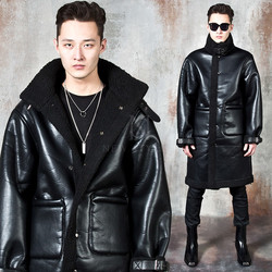 Lambswool double-faced long leather jacket