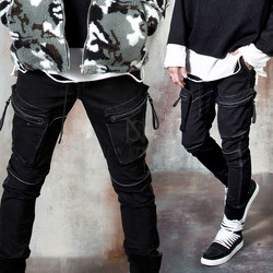 Contrast over-stitch zipper pocket jogger pants