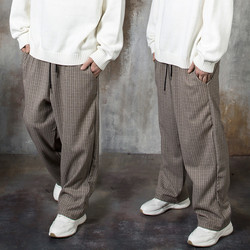 Checked wool wide pants