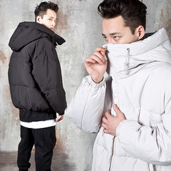 Premium big hood turtleneck duckdown short parka