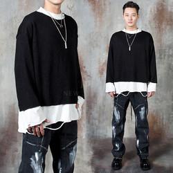Knit layered contrast ripped t-shirts