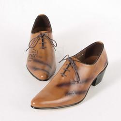Burned wood tone high heel shoes