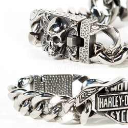 Engraved skull and biker emblem chain bracelet