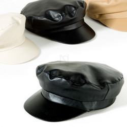 Plain leather marine cap