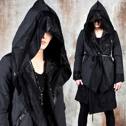 Avant-garde asymmetric quilted hooded shawl jacket