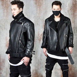 Fleece-lined belted double-faced leather jacket