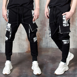 Camouflage contrast cargo jogger pants