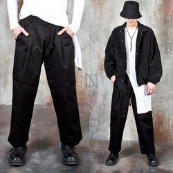 Single pintuck wide cotton pants
