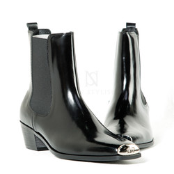 Squared steel toe high heel leather boots