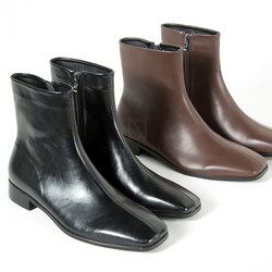Stitch accent squared toe leather boots