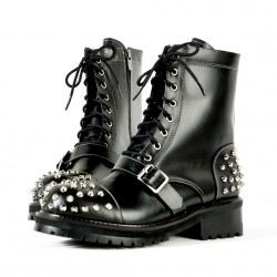 Studded & belted all black leather boots