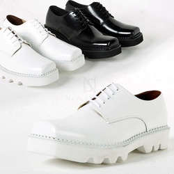 Chunky sole squared toe plain oxford shoes