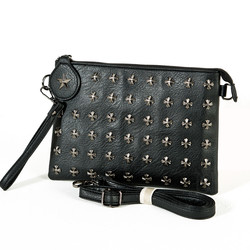 Heraldry symbol studded metal star clutch bag
