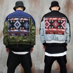 Aztec pattern patchwork contrast jacket