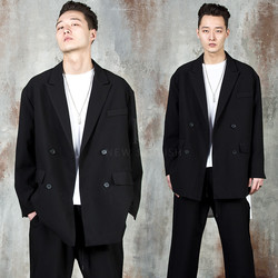 Oversized double-breasted black jacket