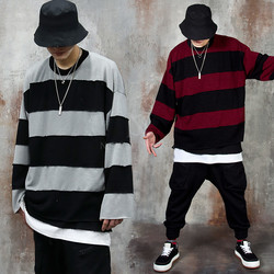 Contrast striped loose-fit knit sweater