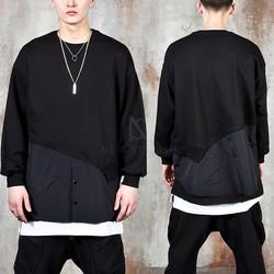 Contrast layered unbalance sweatshirts