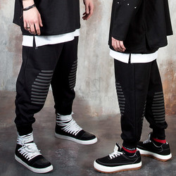 Foam fabric stripe contrast baggy sweatpants