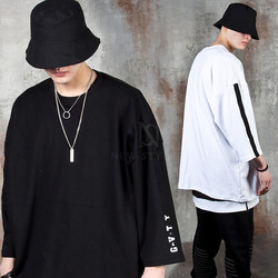 Strap accent sleeve oversized elbow t-shirts