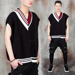 Contrast unbalance V-neck knit vest