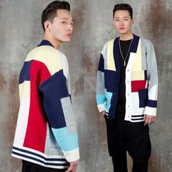 Oriental color contrast knit cardigan