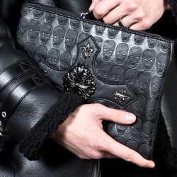 Heraldry symbol cross skull clutch bag