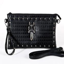 Skull sword leather clutch bag
