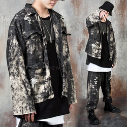 Distressed grunge washed jacket