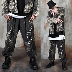 Distressed grunge washed wide pants