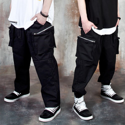 Squared 3D zipper pocket baggy pants
