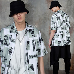 Artistic drawing contrast button-up shirts