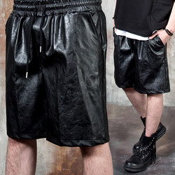 Banded leather shorts
