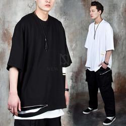 Long zippered oversized t-shirts