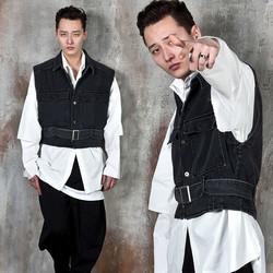 Double pocket belted denim vest