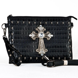 Crystal cross skull studded leather clutch bag
