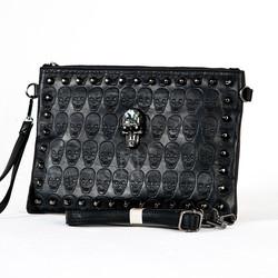 Crystal skull studded leather clutch bag
