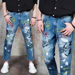 Funky lettering accent baggy blue jeans