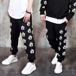 Multiple logos printed banded pants
